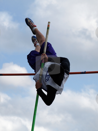 Pole Vaulter stock photo, Local Track and Field Event between rivals Columbia River High School and visiting team Hudson?? by Robert Gebbie
