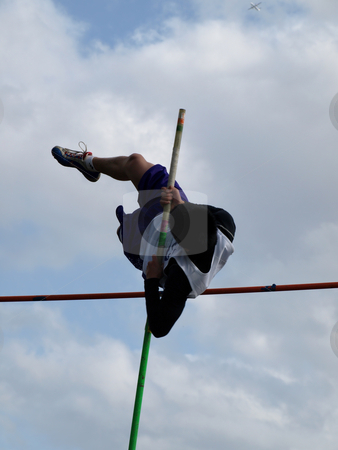 Jumping the Pole stock photo, Local Track and Field Event between rivals Columbia River High School and visiting team Hudson?? by Robert Gebbie