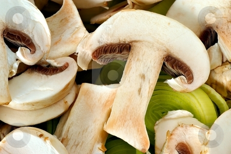 Carved mushrooms with leek detail stock photo, Carved mushroom - champions and leek, detail by Juraj Kovacik