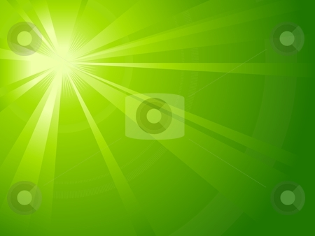 Asymmetric green light burst stock vector clipart, Asymmetric green light burst with the centre in the upper left third. All rays controlled by on linear gradient. Radial gradient for background, outer ring. Artwork grouped and layerd. Global colors. by Ina Wendrock