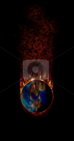 Apocalypse stock photo, Earth gets more and more dangerous in many ways, e.g. through global warming, caused by the greenhouse effect, or the burning of natural ressoures, such as oil. Earth gets too hot and starts burning by Reinhart Eo
