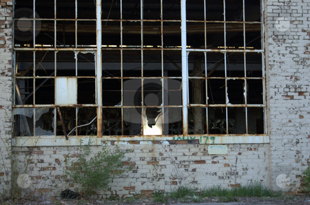 Abandoned factory window stock photo,  by Heather Shelley