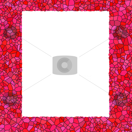 Stained Glass Border stock photo, A border with a red stained glass pattern around it, leaving room for text inside a parchment box by EC Studio