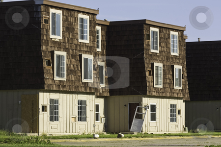 Abandoned apartment buildings stock photo, Abandoned apartment buildings scheduled for demolition by Stephen Goodwin