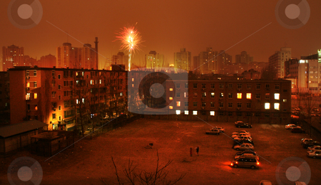 Private Fireworks Chinese Lunar New Year Eve Beijing, China stock photo, Private Fireworks, Chinese Lunar New Year Eve, Suburbs, Beijing, China.  Fireworks are everywhere in China, especially Chinese New Year Eve. by William Perry