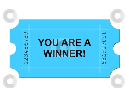 Ticket Blue stock photo, Blue ticket on white background with sample writing YOU ARE A WINNER by Henrik Lehnerer