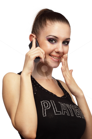 Attractive girl talking on a phone stock photo, Attractive girl talking on a mobile phone over white by Ivelin Radkov