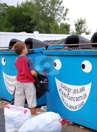 Preteen boy recycling stock photo,  by Heather Shelley