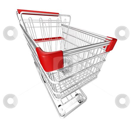 Shopping Cart stock photo, Metal Shopping Cart on a White Background by John Teeter