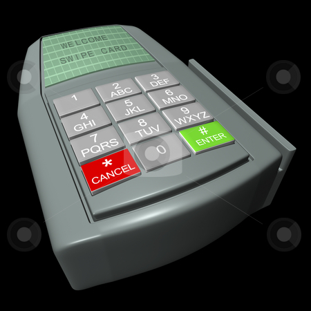 Credit Card Terminal stock photo, Credit card terminal on a black background by John Teeter
