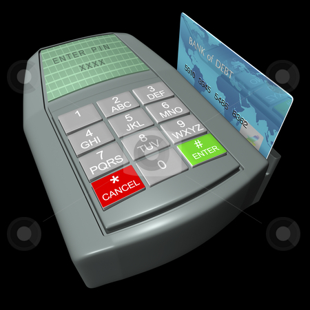 Credit Card Terminal stock photo, Credit card in terminal on a black background by John Teeter