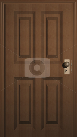 Wooden Door stock photo, 3D illustration of a wooden door with keyhole by John Teeter