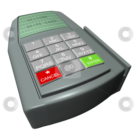 Credit Card Terminal stock photo, Credit card terminal on a white background by John Teeter