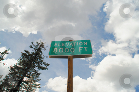 Eight Thousand Feet High stock photo, An elevation sign showing you are at 8000 feet abouve sea level. This is in the california sierra nevada mountains by Lynn Bendickson