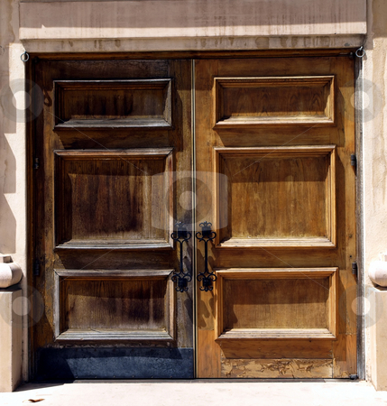 Weathered wooden double doors stock photo, Full length weathered wooden double doors by Jill Reid