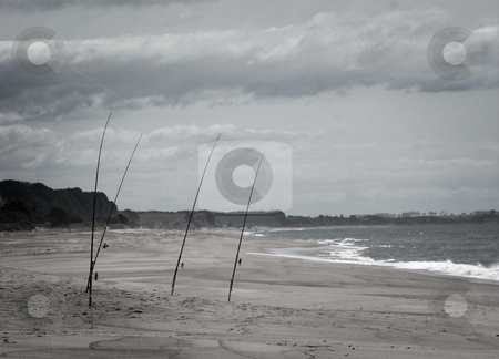 Fishing rods on beach stock photo, Fishing rods standing on windy, lonely beach by David Schmidt