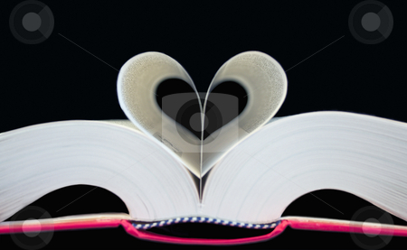 Book shaped like heart stock photo, Heart shaped book - love concept photo by Stelian Ion