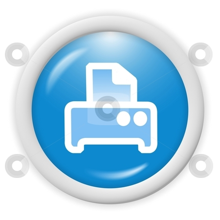 Printer icon stock photo, Blue 3d printer icon - computer generated clipart by Stelian Ion