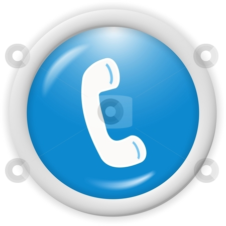Phone icon stock photo, Blue 3d phone icon - computer generated icon by Stelian Ion