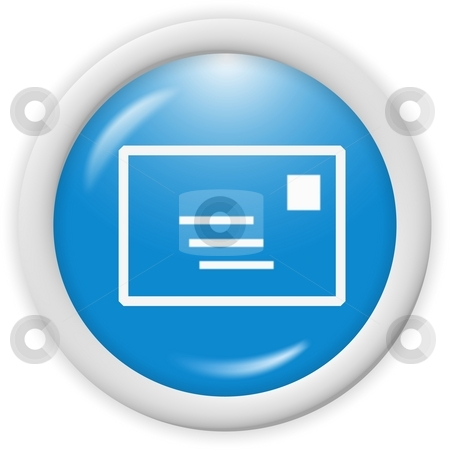 Email icon stock photo, 3d blue email icon sign - web design illustration by Stelian Ion