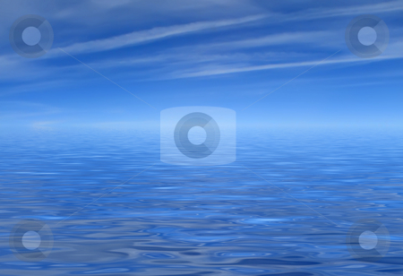 Beatiful blue sea and sky stock photo, Where the blue sea meet the blue sky by Stelian Ion