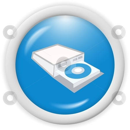 Cd disc icon stock photo, Blue compact disc writer icon - computer generated clipart by Stelian Ion