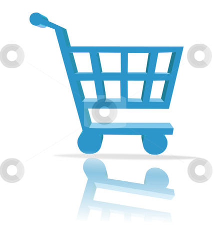 Shopping cart button stock photo, 3d shopping cart button - computer generated clip-art by Stelian Ion