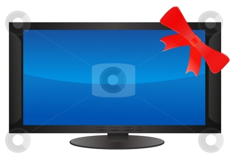 Flat screen stock photo, Flat screen monitor over blue background by Stelian Ion