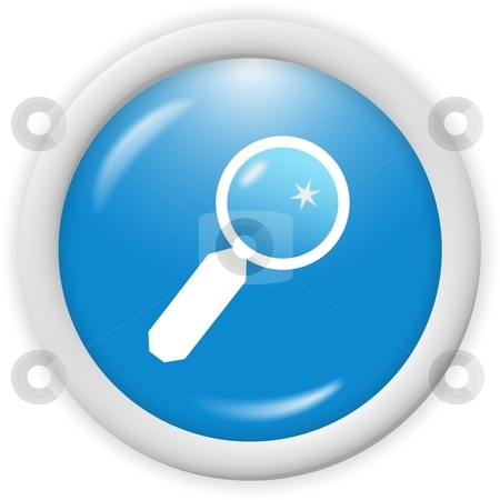 Magnifying glass stock photo, 3d blue magnifying glass icon -  computer generated clipart by Stelian Ion