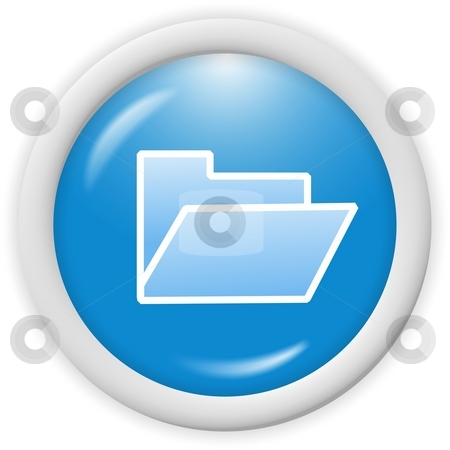 Folder icon stock photo, 3d blue folder icon - computer generated clipart by Stelian Ion