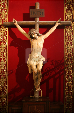 Jesus on a cross stock photo, Jesus on a cross over the red background by Stelian Ion
