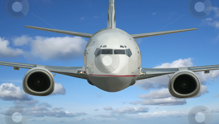 Airplane stock photo, Airplane fliying over a the beautiful blue sky background by Stelian Ion