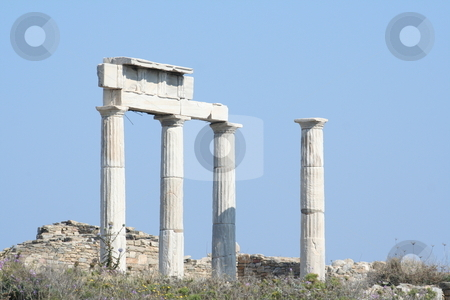 Marble columns stock photo, Marble columns of ancient greece - europe travel by Stelian Ion