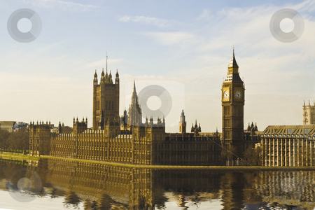 The House of Parliament & Big Ben stock photo, The House of Parliament & Big Ben - water reflection by Stelian Ion