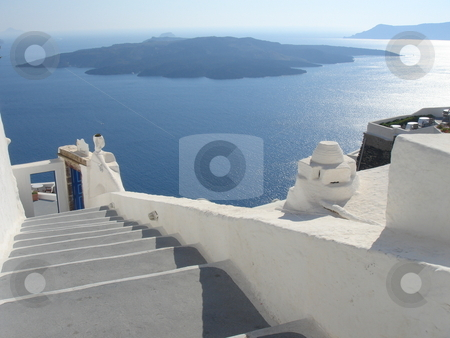 Santorini landscape stock photo, Volcan view from Santorini greece island - europe travel by Stelian Ion