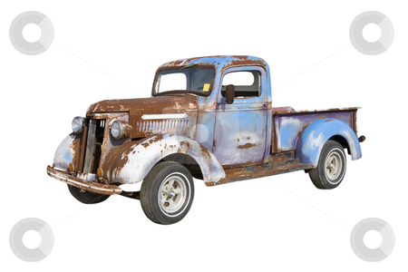 Rusty blue truck stock photo, Old pickup truck starter for a major restoration by Lee Barnwell