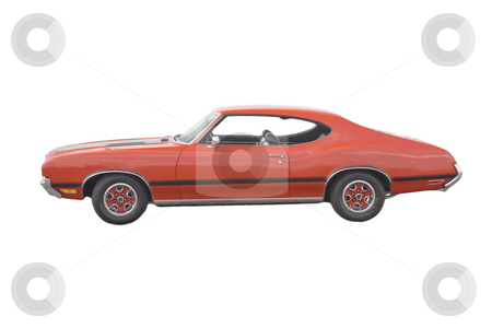 Classic red muscle Car stock photo, Classic American red muscle car on white by Lee Barnwell