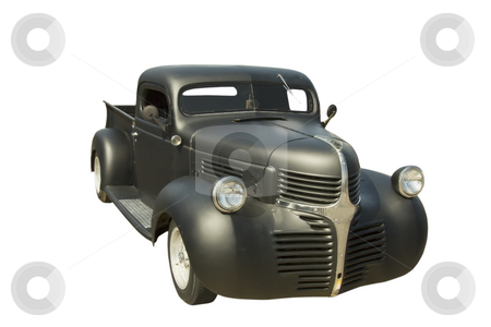Retro black pickup truck stock photo, 1940's retro black pick up truck on white by Lee Barnwell