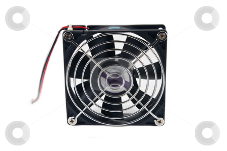 Computer cooling fan stock photo, Computer cooling fan, isolated on white background. by Steve Carroll