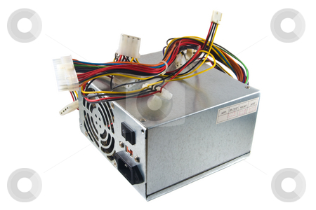 Computer Power Supply stock photo, A used computer power supply isolated on a white background. by Steve Carroll