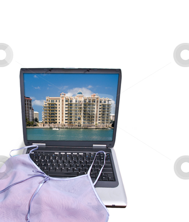 Packing for Vacation stock photo, Lingerie draped over laptop computer displaying a vacation resort, as if a lady was packing for a romantic get-a-way she just booked online. by Steve Carroll