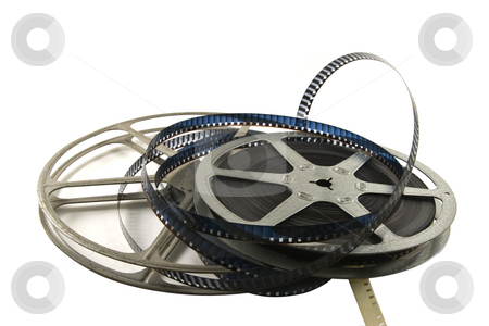 8mm Movie Film stock photo, 8mm movie film with metal reels.  Isolated on white backgroud. by Steve Carroll
