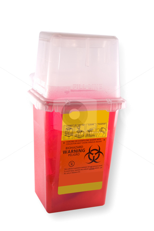 Needle Disposal stock photo, Disposal container for medial syringes and needles, isolated on white background with clipping path by Steve Carroll