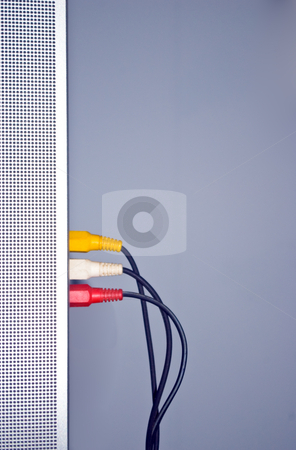 Audio Video Cables stock photo, Audio Video Cables Into Side of Television by Steve Carroll