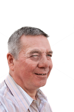 Caucasion senior man looking off into the distance stock photo, Head shot of a 57 year old man, Caucasian, staring off into the distance by Steve Carroll