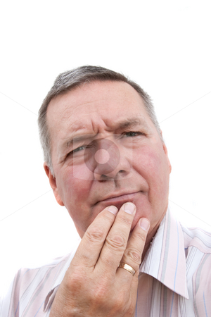Senior man thinking stock photo, Head shot of a 57 year old man, Caucasian, thinking. by Steve Carroll