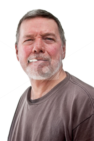 Headshot of mature homeless man with cigarette butt stock photo, Headshot of mature homeless man with cigarette butt, scruffy beard and t-shirt.  Isolated on white by Steve Carroll