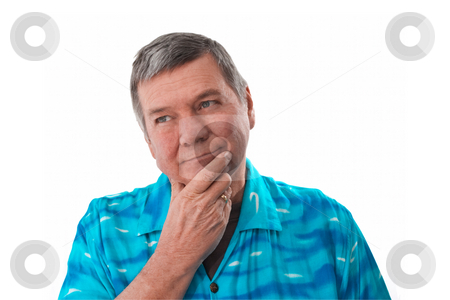 Portrait of senior man, isolated on white. stock photo, Portrait of a reflective 57 year old senior man wearing a bright blue shirt, isolated on white background. by Steve Carroll