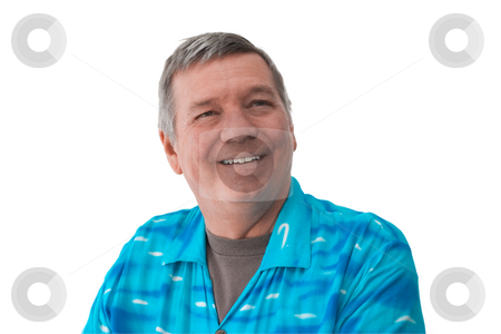 Portrate of smiling senior man, isolated on white. stock photo, Portrait of a smiling 57 year old senior man wearing a bright blue shirt, isolated on white background. by Steve Carroll