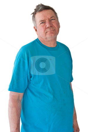 Distraught Mature Man stock photo, Distraught mature man with no future, isolated on white background. by Steve Carroll